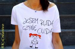 """t-shirt  """"JESTEM RUDA"""" + rysunek"""