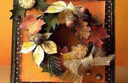 Kartka z jesiennym wiankiem.
