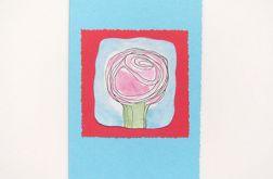 Kartka niebieska z kwiatkiem 7