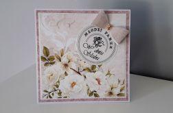 Kartka ślubna na ślub kokardka kwiaty