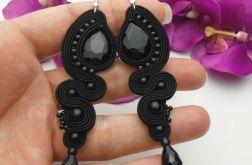 Soutache sutasz kolczyki kryształowe czarne