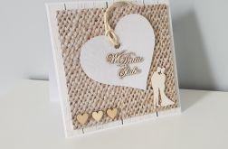 Kartka ślubna na ślub z sercem para młoda