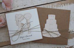 Rustykalna kartka ślubna z pudełkiem 25