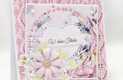 Przestrzenna kartka ślubna z kwiatami KS1915