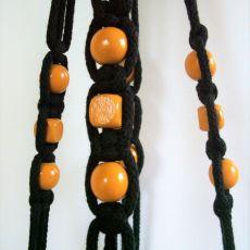 Makrama, kwietnik wiszący ze sznurka czarny