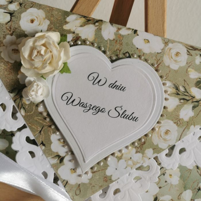 Kartka ślubna kopertowa kopertówka kwiaty - W dniu Waszego Ślubu