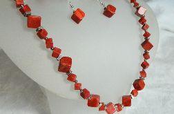 Koral czerwony, srebro, geometryczny zestaw