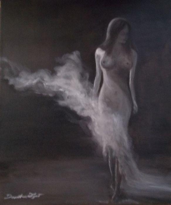 Boso - olej na płótnie - Obraz olejny abstrakcja akt