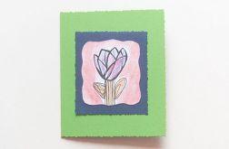 Kartka zielona  z kwiatkiem 17
