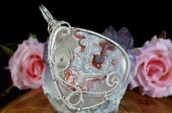 Srebrny wisior z agatem koronkowym crazy lace
