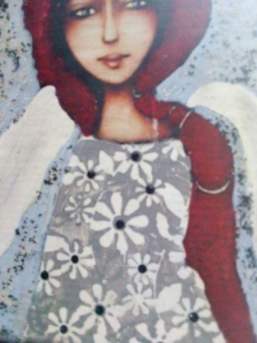 Niebieski  Anioł z warkoczem- obraz na desce - prawa strona obrazu