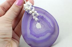 Agat fioletowy  perły, Swarovski i srebro - wisior