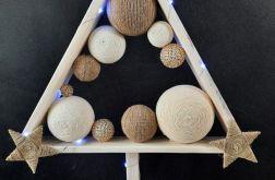 Drewniana choinka biało-złota hand made