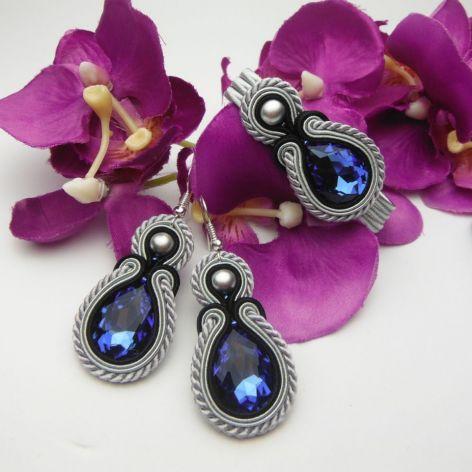 Komplet biżuterii wesele ślub szary kobaltowy
