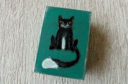 Pudełko malowane śr. - Kot, zieleń morska