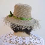 Lniany  letni przeciw słoneczny kapelusz