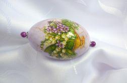 Wydmuszka gęsia pisanka Kwiaty w fiolecie
