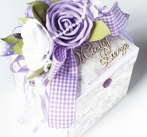 Exploding Box pudełko ślubne we fiolecie