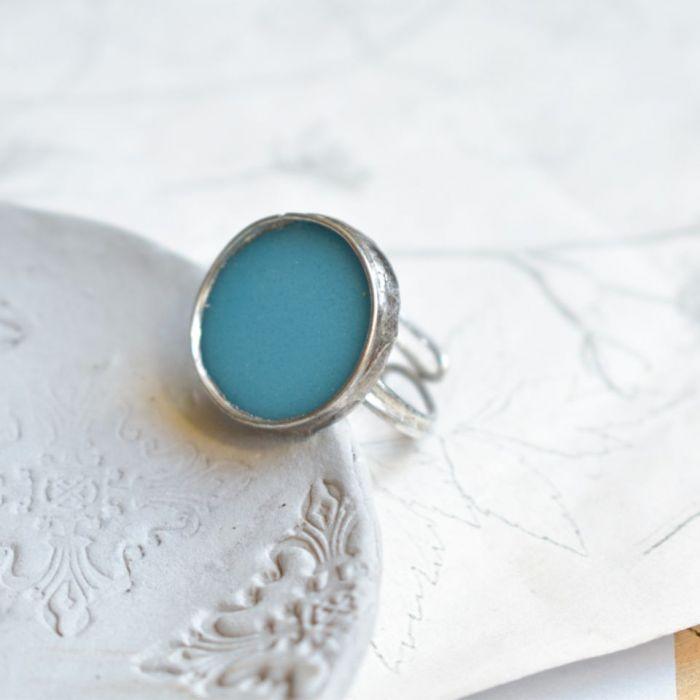 Niebieski - pierścionek ze szkłem