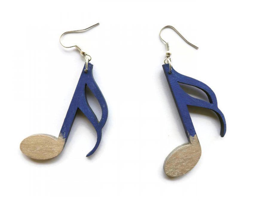 Drewniane kolczyki Nutki niebiesko-srebrne