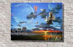 """""""Wyobraźnia"""" surrealistyczny obraz akryl"""
