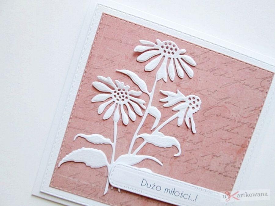 Kartka ŚLUBNA koralowo-biała - Koralowo-biała kartka na ślub