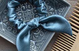 Gumka scrunchie frotka jedwabna z kokardą SEA BLUE