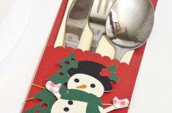 Etui na sztućce Boże Narodzenie - bałwan