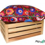 Ozdobna bawełniana poduszka ~ folk / czerwony -