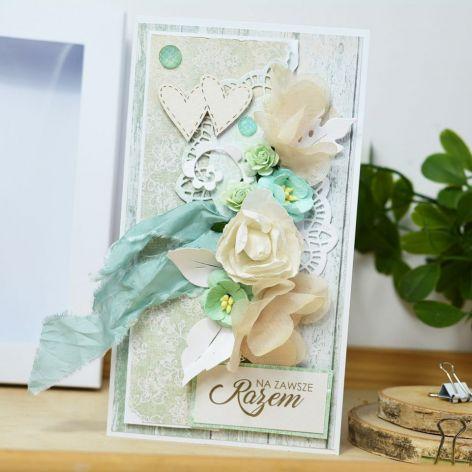 Romantyczna kartka ślubna - miętowa