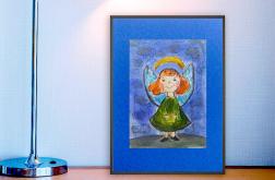Aniołek obrazek ręcznie malowany szkic n3