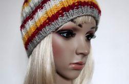 Jesienne kolory - ciepła czapka, ściągacz