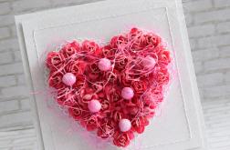 Ślubne kwiatowe serce - fuksja