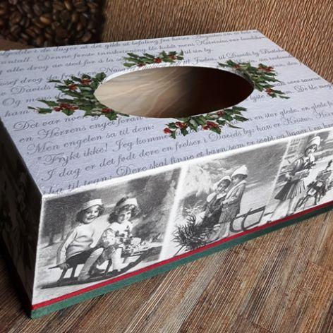 Chustecznik vintage świąteczny z dziećmi
