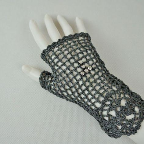 Romantyczne rękawiczki grafit z cyrkoniami