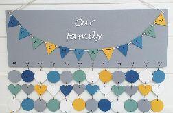 Kalendarz rodzinny, kalendarz urodzin, drewniany kalendarz, dowolne kolory i napisy 36