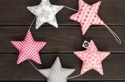RÓŻOWO-SZARA GIRLANDA, 5 gwiazdek