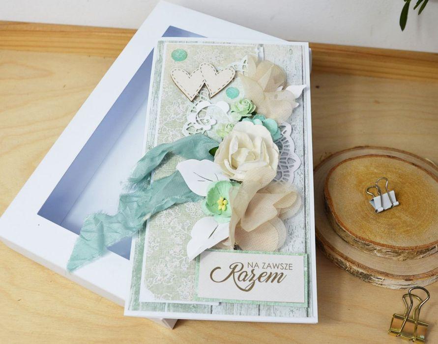 Romantyczna kartka ślubna - miętowa -