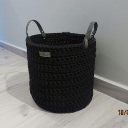 Koszyk ze sznurka z uchwytami czarny