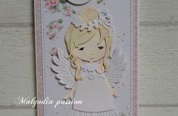 Kartka komunijna z piękną dziewczynką II