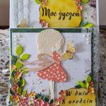 Kwiatowa kartka urodzinowa dla dziewczynki - Komplet kartka i pudełko