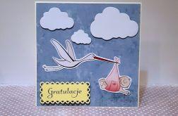 Kartka z okazji narodzin dziecka handmade