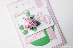 Kartka URODZINOWA różowo-zielona
