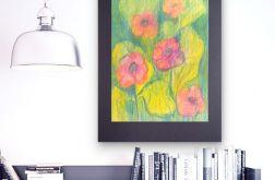 Rysunek kwiaty na czarnym tle, szkic nr 8