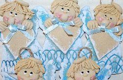5 elegantów - anioły z masy solnej - z sercem na dedykację