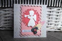 Kartka na Chrzest różowa Aniołek handmade