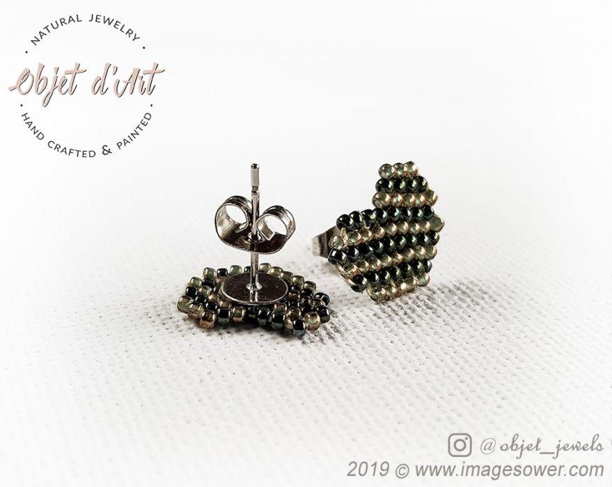 Kolczyki Wkrętki Zielono-Złote SERDUSZKA