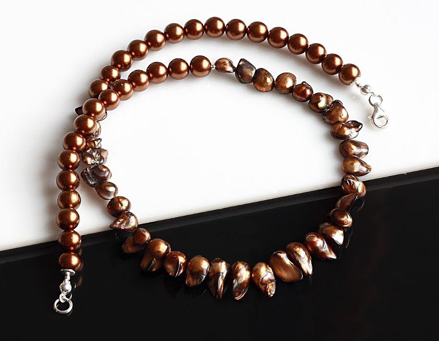 Brązowe perły - naszyjnik