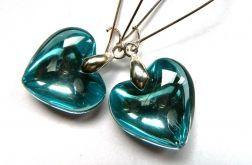 Niebieskie serca, efektowne długie kolczyki