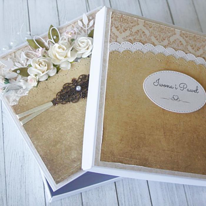 Kartka ślubna w pięknych brązach
